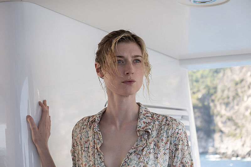 Elizabeth Debicki on board Planet Nine yacht in Warner Bros. Pictures' action epic Tenet a Warner Bros. Pictures release.