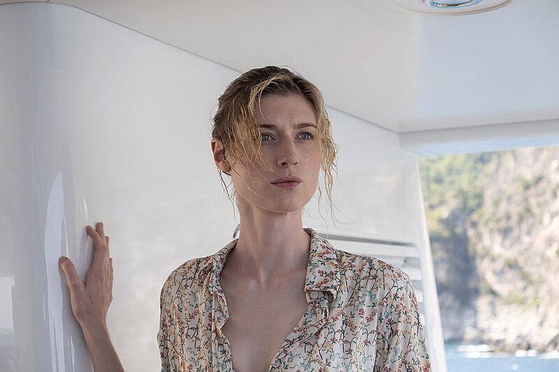 Elizabeth Debicki on board Planet Nine yacht in Warner Bros. Pictures鈥� action epic Tenet a Warner Bros. Pictures release.