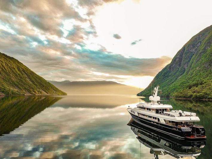 The Feadship Explora at sunset
