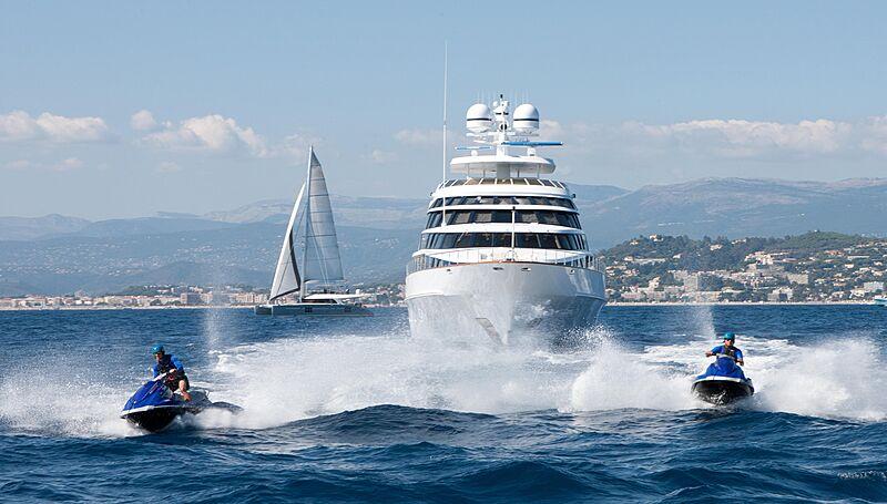 Azzurra II yacht with tenders