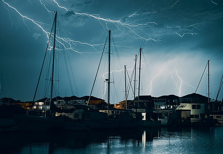Yachts in bad weather storm