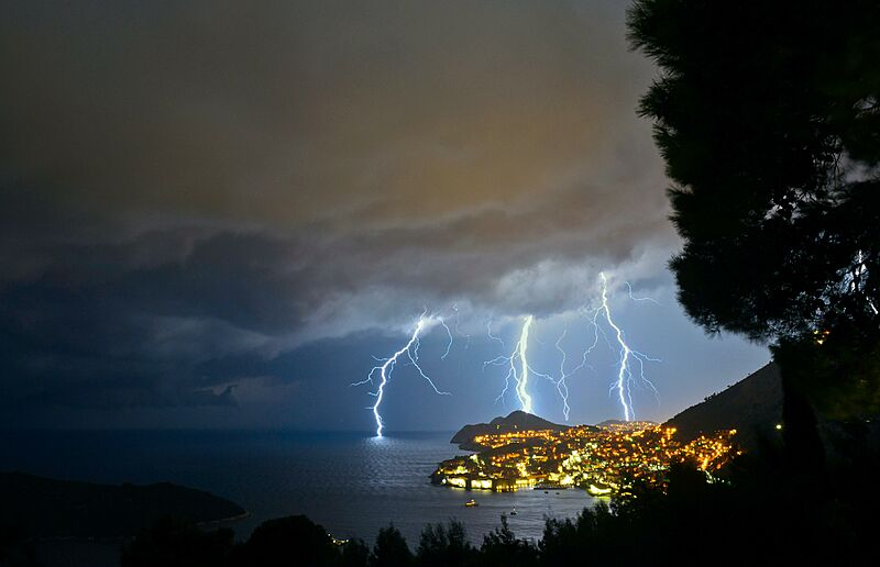 Lightning storm at sea in Dubrovnik, Croatia