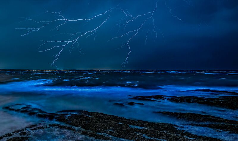 Lightning storm at sea
