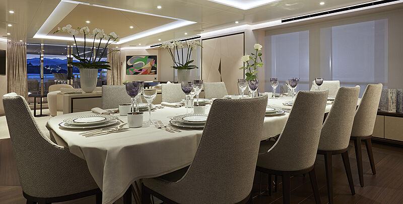 Triton yacht dining