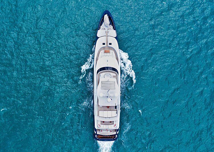 Forwin yacht cruising aerial