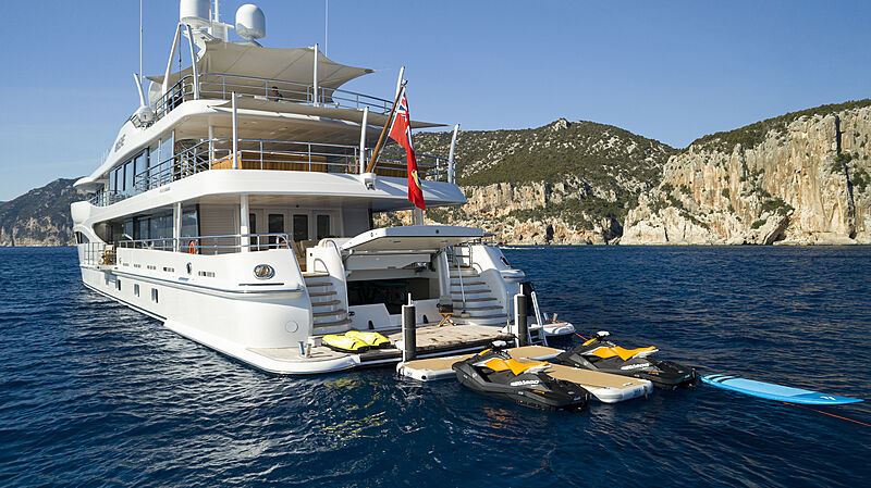 Galene yacht anchored with toys