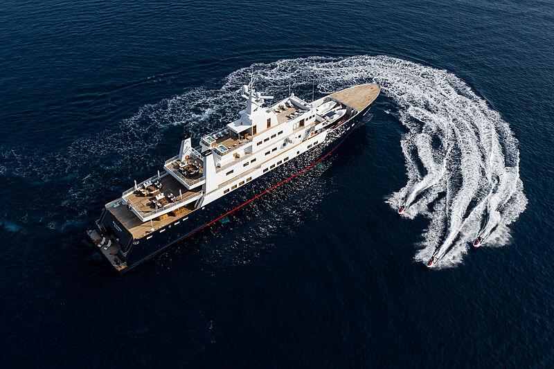 Bleu de Nimes yacht aerial with toys