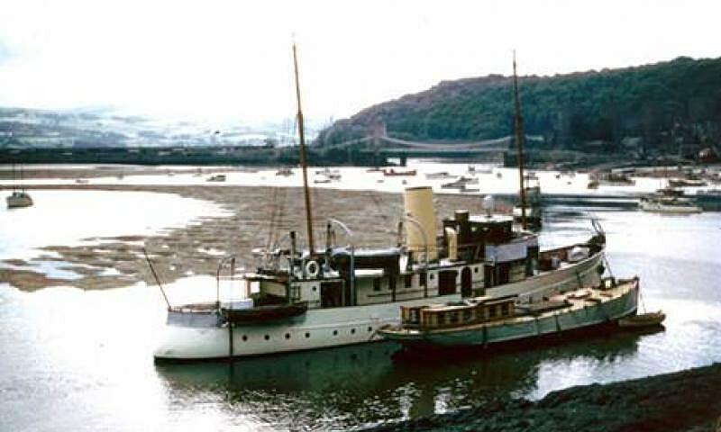 Llys Helig yacht anchored at Conwy circa 1958