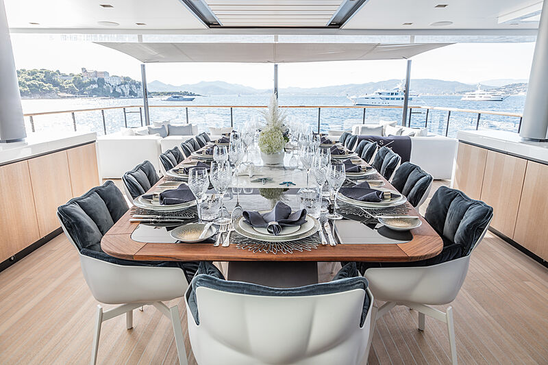 Severin's yacht deck dining