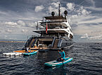 Severin's yacht with toys