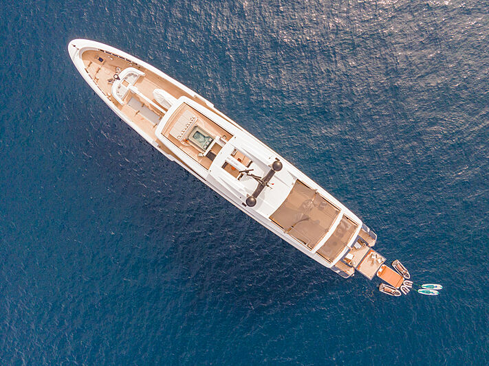 Severin's yacht anchored