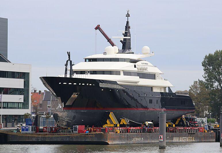 Alfa Nero yacht at Oceanco Alblasserdam shipyard