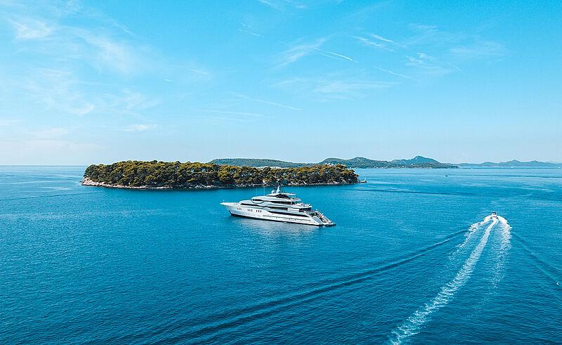Tango yacht by Feadship in Santorini, Greece