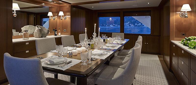 Ancallia yacht dining room