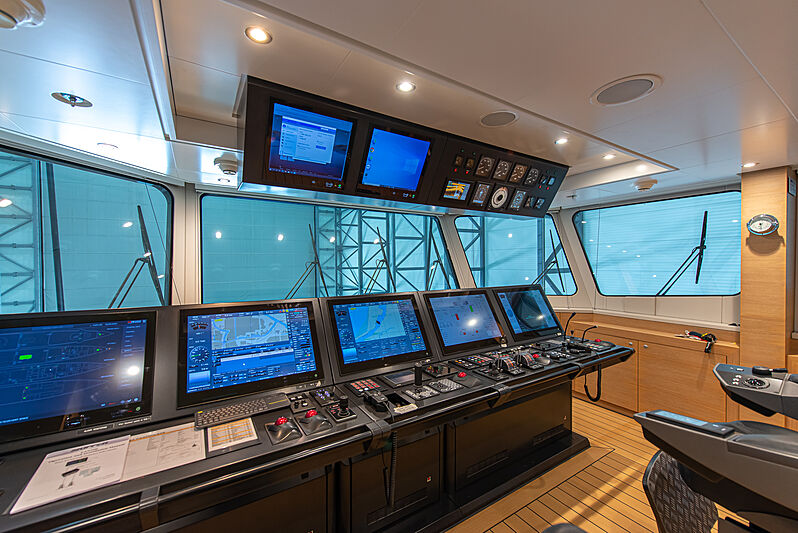 Game Changer yacht during refit - wheelhouse