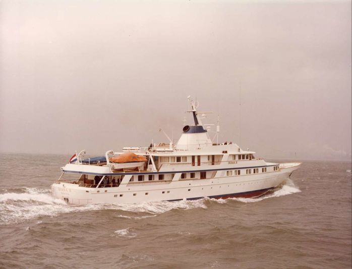 Diana II the classic Feadship under sea trials on the North Sea