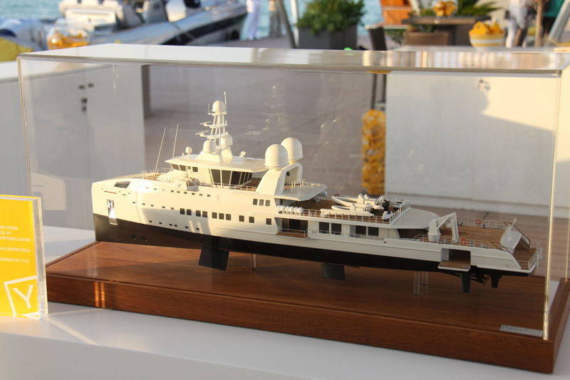 Nakilat Damen Yacht Support Vessel model on display in Qatar