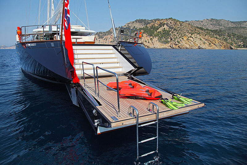 Prana yacht anchored with toys