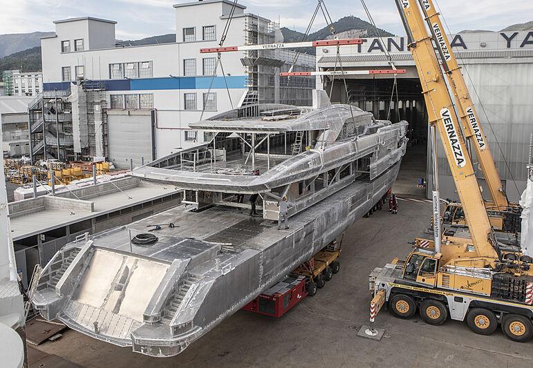 Tankoa S502 Elettra yacht in build in Genova