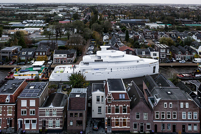 Feadship Project 708 under transport in the Netherlands