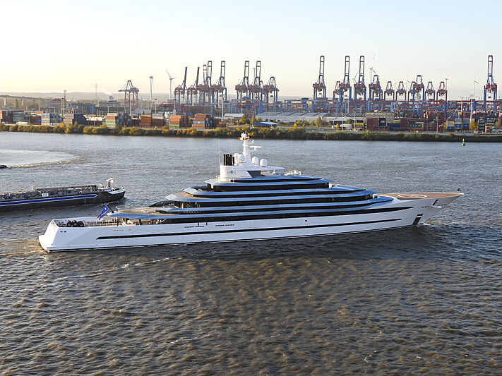 Kaos yacht leaving Hamburg after refit at Lürssen