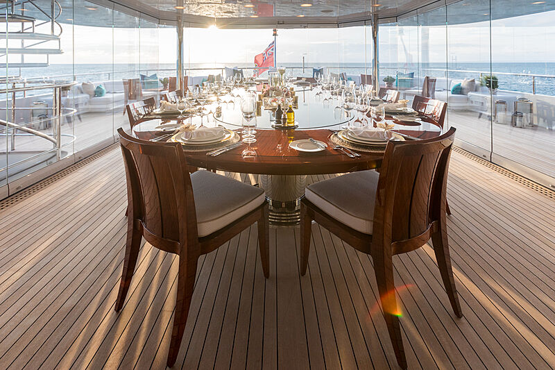 Double Down yacht deck dining