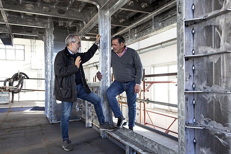 Guido Bini and Nico Laude at Reale Yachts shipyard