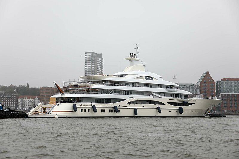 TIS yacht launch mid-refit at Lürssen, Hamburg
