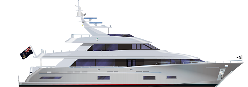 Cheoy Lee 118 Tradition yacht profile rendering