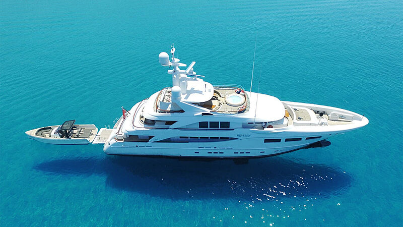 Revelry yacht anchored aerial