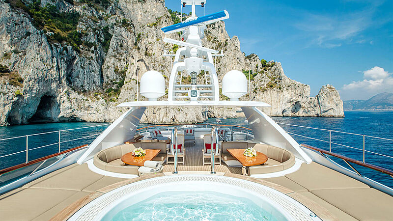 Revelry yacht sun deck and pool