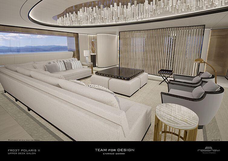 King Shark yacht upper deck saloon rendering