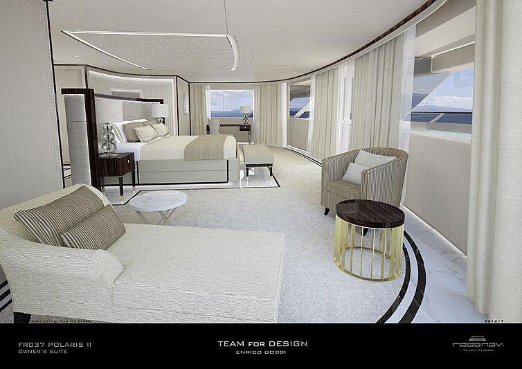 King Shark yacht owner's suite rendering