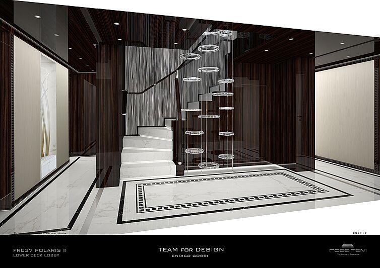 King Shark yacht lower deck lobby rendering