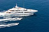 White yacht cruising