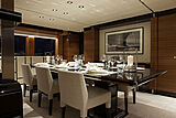 White yacht dining