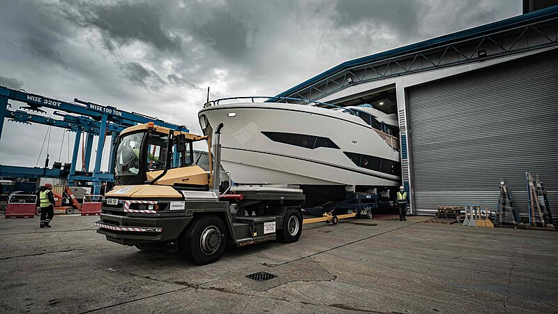 Sunseeker 90 Ocean hull 1 yacht leaving shed