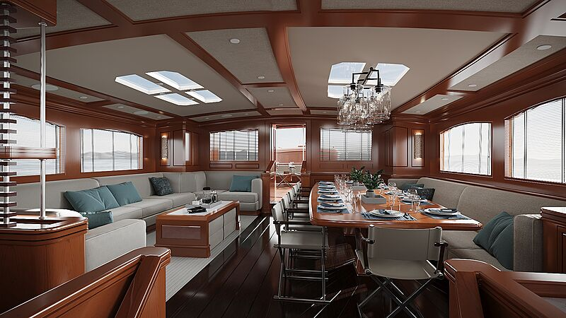 Rainbow II yacht saloon rendering