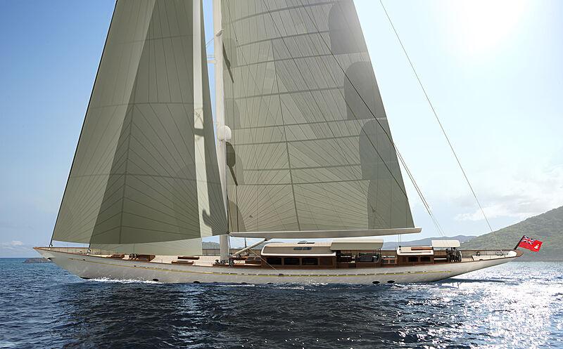 Rainbow II yacht sailing rendering