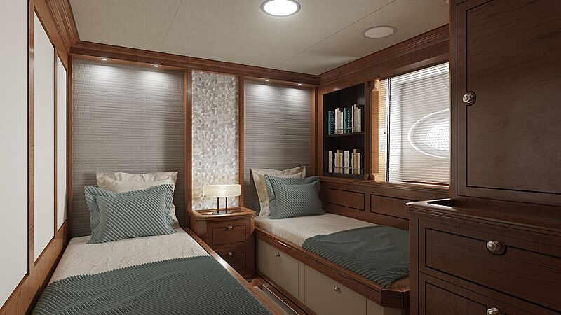 Rainbow II yacht stateroom rendering