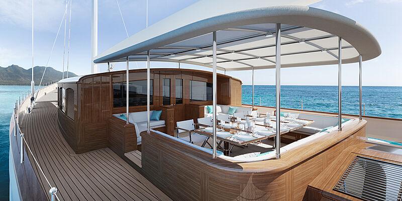 Rainbow II yacht deck rendering