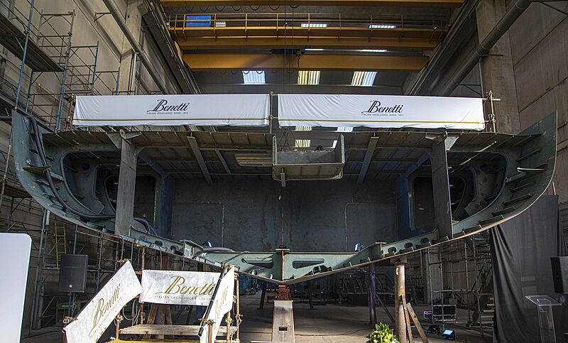 Benetti FB283 yacht keel laying