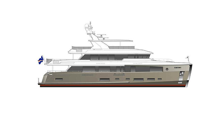 Cheoy Lee 107 Explorer yacht profile rendering