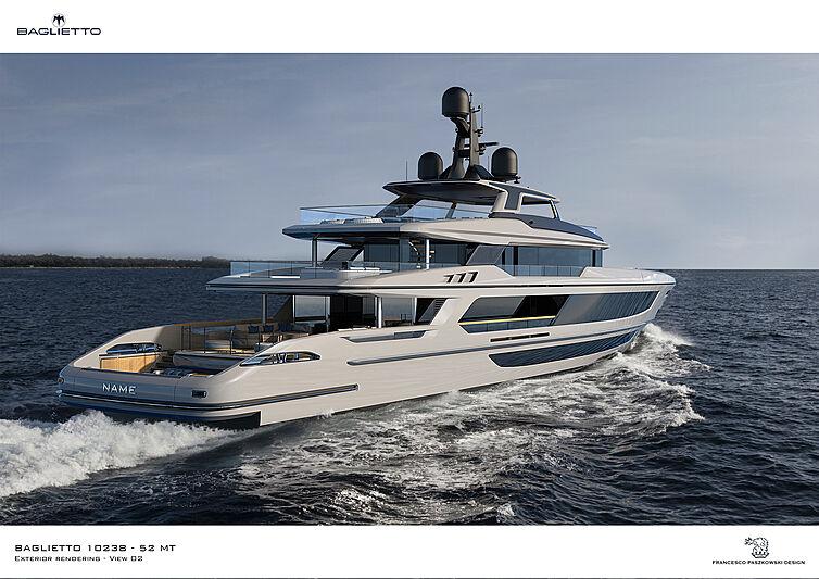 Baglietto 10238 T52 yacht rendering