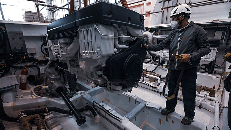 Volvo Penta D13 IPS 1350 engine installation on Sanlorenzo SX112