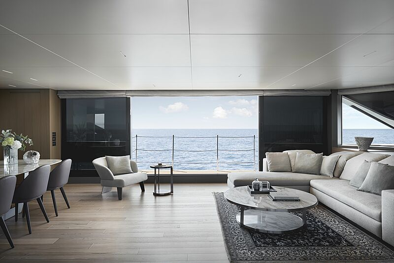 Sanlorenzo SL120 Asymmetric yacht interior design