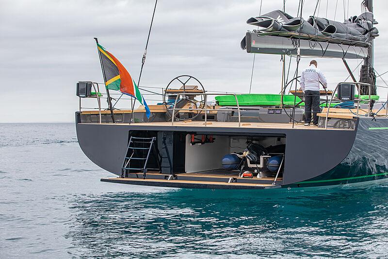 Morgana yacht stern with swim platform