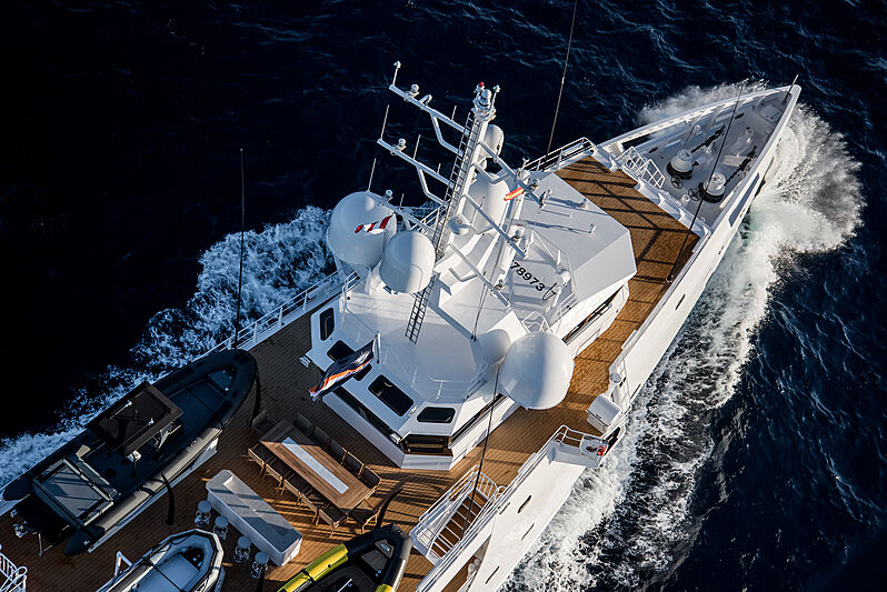 Game Changer yacht aerial view