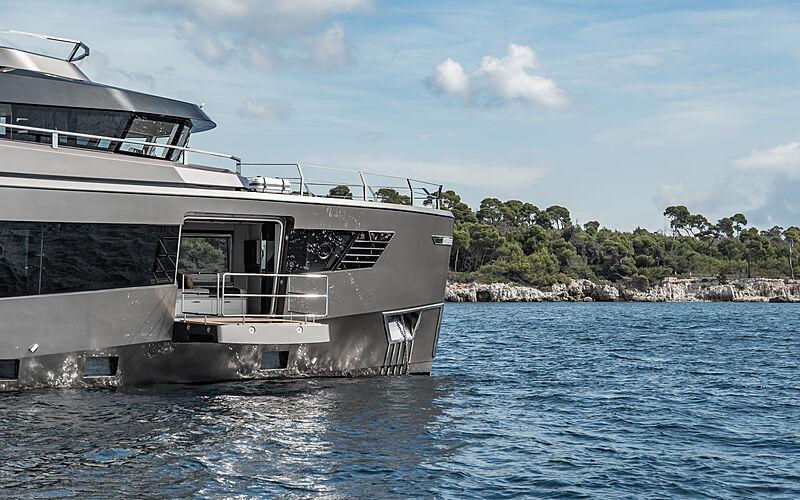 Rock yacht anchored