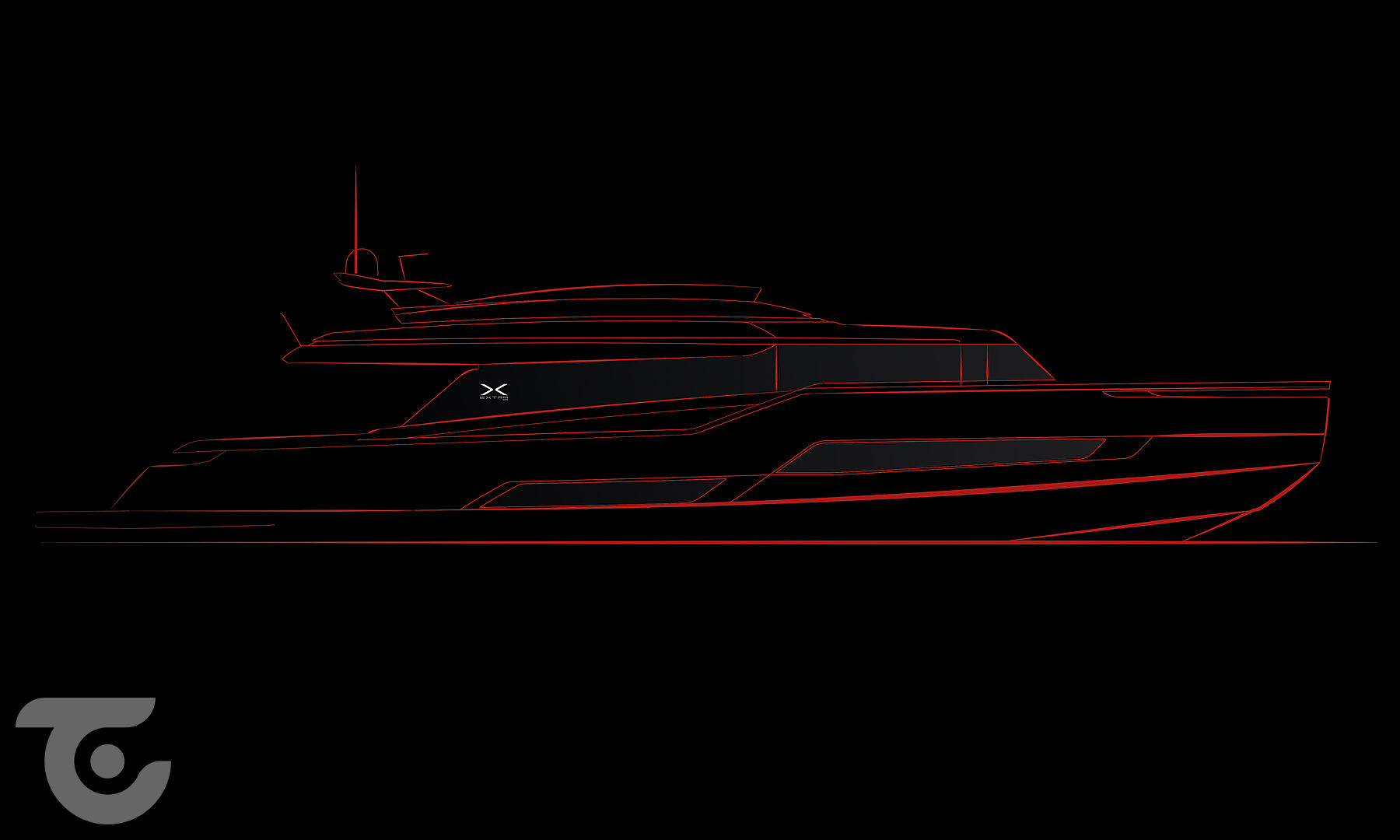 Extra X99 yacht rendering